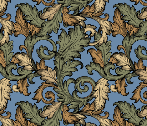 Acanthus Leaves ( Medieval) fabric by studiofibonacci on Spoonflower - custom fabric