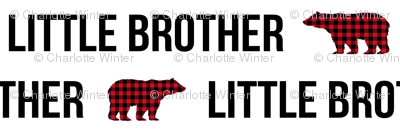 little brother plaid bear fabric custom name fabric personalized personalised fabric