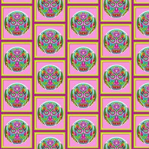 Aztec Pink Pop Art Sugar Skull-ed