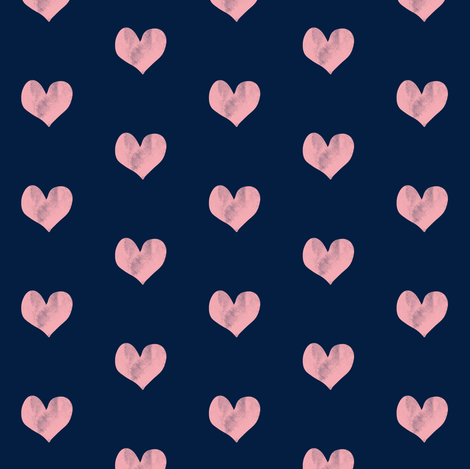 hearts || navy fabric by littlearrowdesign on Spoonflower - custom fabric