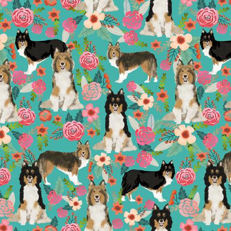 sheltie floral fabric shetland sheepdog fabrics sheltie dog design best vintage florals fabric fabric by petfriendly on Spoonflower - custom fabric