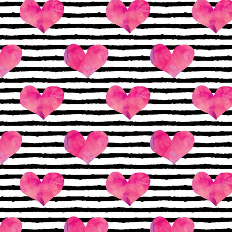 watercolor hearts || stripes fabric by littlearrowdesign on Spoonflower - custom fabric