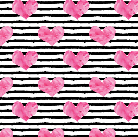 watercolor hearts || stripes 2 fabric by littlearrowdesign on Spoonflower - custom fabric