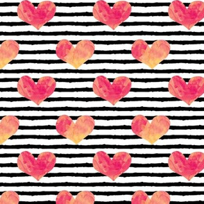 watercolor hearts - sherbert swirl || stripes