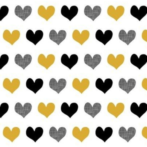 gold and black hearts
