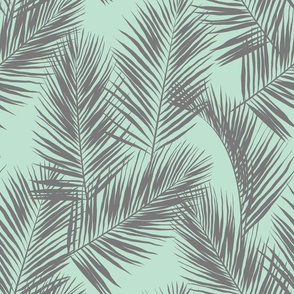 palm leaves - gray on mint, small. silhuettes tropical forest gray grey mint light green hot summer palm plant tree leaves fabric wallpaper giftwrap