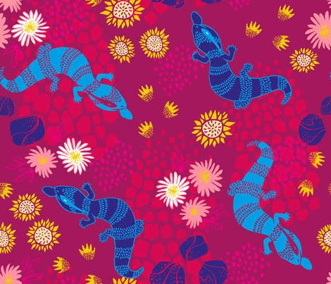 Electric Lizards - Magenta fabric by pinky_wittingslow on Spoonflower - custom fabric