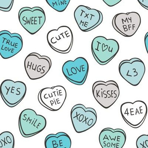 Conversation Candy Hearts Valentine Love  Mint Green Blue