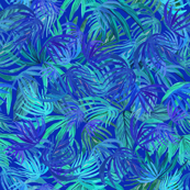 Tropical blue and green watercolor leaves