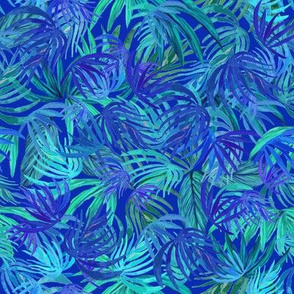 Watercolor Tropical Neon green & blue watercolor leaves