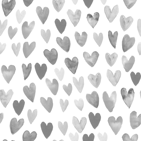 watercolor valentines fabric watercolour heart fabrics valentine design fabric by charlottewinter on Spoonflower - custom fabric