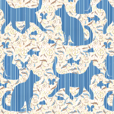 Zebrawood Cat Silhouettes in Blue fabric by eclectic_house on Spoonflower - custom fabric