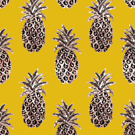 pineapple   // Mustard yellow gold pineapple    fabric by magentarosedesigns on Spoonflower - custom fabric