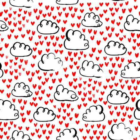love clouds watercolor hearts heart fabric valentines fabric fabric by charlottewinter on Spoonflower - custom fabric