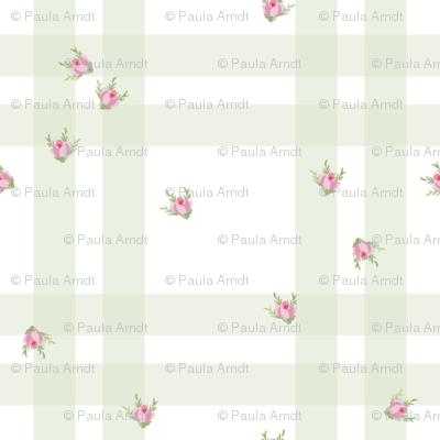 Cottage Check Floral basil