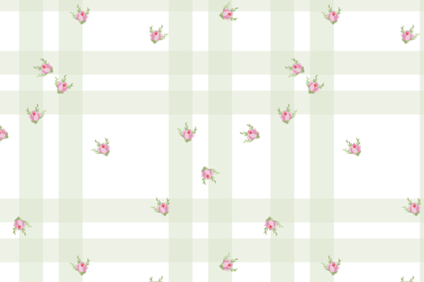 Cottage Check Floral basil fabric by lilyoake on Spoonflower - custom fabric
