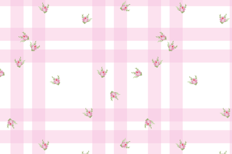 Cottage Check Floral sorbet fabric by lilyoake on Spoonflower - custom fabric