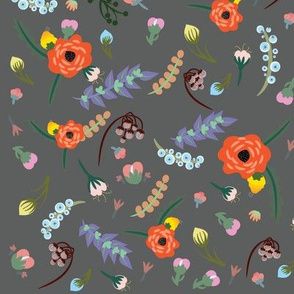 Floral World - Gray