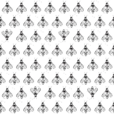 Honey bee I love thee // monochrome black fabric by ruth_robson on Spoonflower - custom fabric