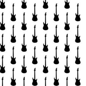 Black Electric Guitars on White
