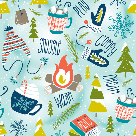 Snow Day Hooray! - Winter Fun Aqua fabric by heatherdutton on Spoonflower - custom fabric