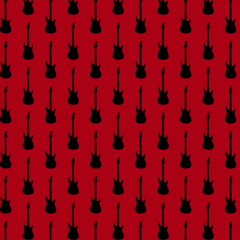 Black Electric Guitars on Dark Red fabric by mtothefifthpower on Spoonflower - custom fabric