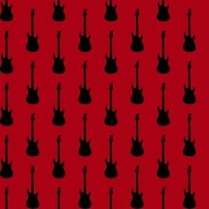 Black Electric Guitars on Dark Red