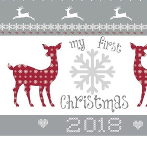 first christmas 2018 -Large 10 - deer snowflakes -berry gray