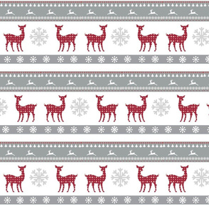 Harbour Holiday 7 - raindeer snowflakes -berry gray