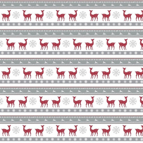 Harbour Holiday 4 SMALL - raindeer snowflakes -berry gray