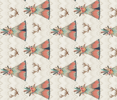 Rotated Teepees in Ikat Chevron fabric by willowlanetextiles on Spoonflower - custom fabric