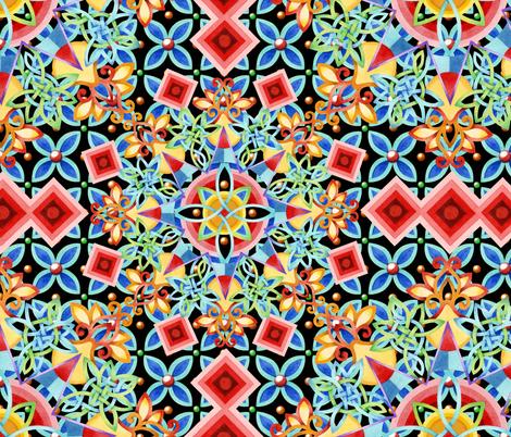 Festival Mandala Heraldic fabric by patriciasheadesigns on Spoonflower - custom fabric