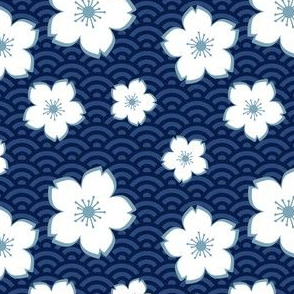 Sakura on Waves - White & Blue