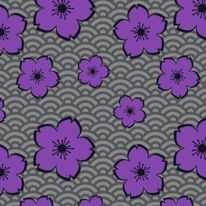Sakura on Waves - Purple on Grey