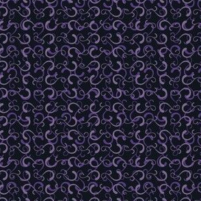 Lacy Swirls - Violet on Black