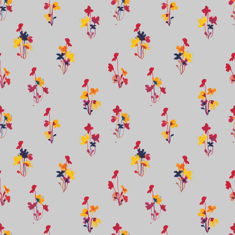 bouquet grey fabric by meissa on Spoonflower - custom fabric