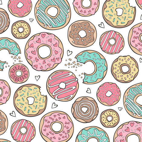Donuts with Hearts Mint Green, Pink and Chocolate on White fabric by caja_design on Spoonflower - custom fabric