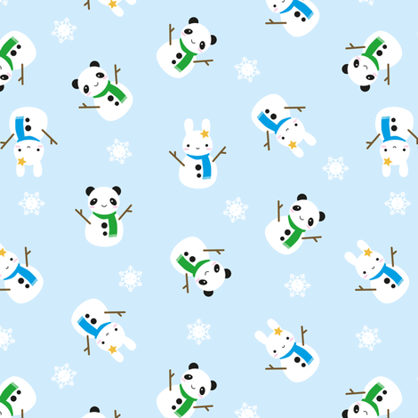 Snow Bunny & Snow Panda fabric by marcelinesmith on Spoonflower - custom fabric