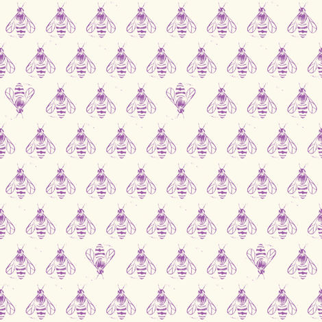 Honey bee I love thee //lavender fabric by ruth_robson on Spoonflower - custom fabric