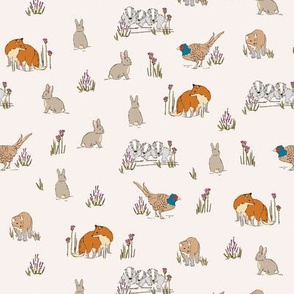 Woodland illustrative Fabric Print