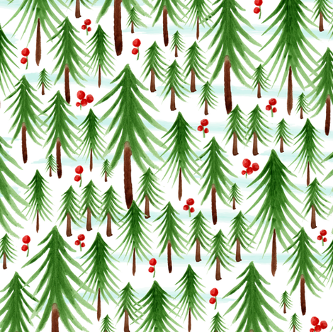 Christmas Tree Farm - Watercolor Winter Forest fabric by heatherdutton on Spoonflower - custom fabric