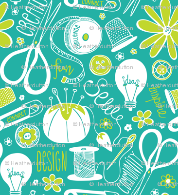 Design Sew Create - Sewing Typography Aqua White Green