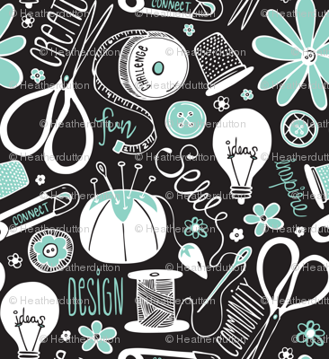 Design Sew Create - Sewing Typography Black White Aqua