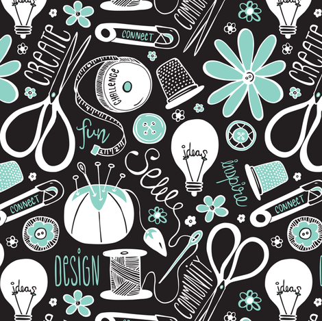 Design Sew Create - Sewing Typography Black White Aqua fabric by heatherdutton on Spoonflower - custom fabric