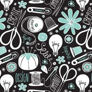 Design Sew Create Sewing Typography Black White Aqua