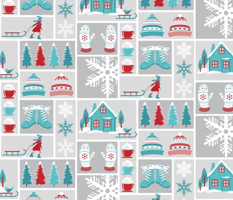 Snow, no school today fabric by ebygomm on Spoonflower - custom fabric