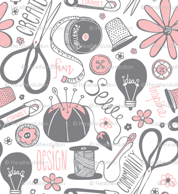 Design Sew Create - Sewing Typography White Grey Pink