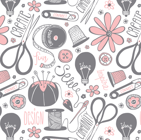 Design Sew Create - Sewing Typography White Grey Pink fabric by heatherdutton on Spoonflower - custom fabric