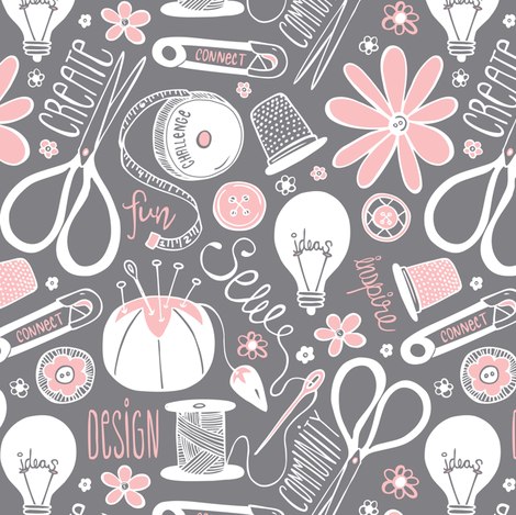 Design Sew Create - Sewing Typography Grey White Pink fabric by heatherdutton on Spoonflower - custom fabric