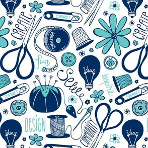 Design Sew Create Sewing Typography White Navy Aqua
